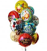 Balloons: Get Well Balloon Bouquet-12 Mylar
