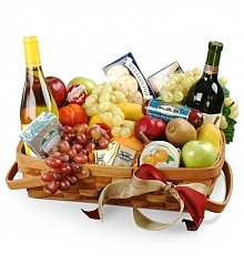 Wine & Fruit Baskets: Jolly Wishes Gourmet Fruit Basket with Wine